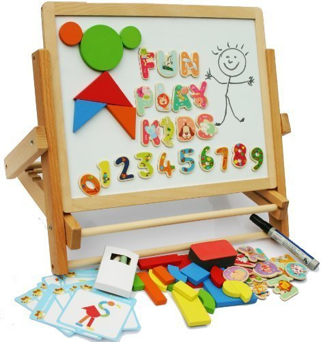 Toys of Wood Oxford Wooden Easel for Children Foldable Double Magnetic Boards Magnetic Shapes Letters Numbers and Paper roll Kids Art Easel -Table Top Magnetic Board for Kids by Toys of Wood Oxford