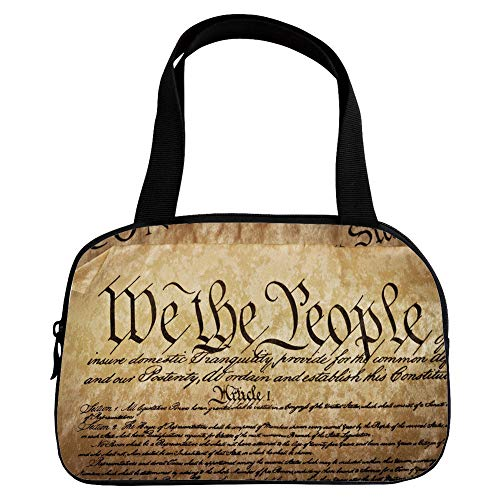 iPrint Increase Capacity Small Handbag Pink,United States,Vintage Constitution Text of America National Glory Fourth of July Image,Light Brown,for Girls,3D Print Design.6.3