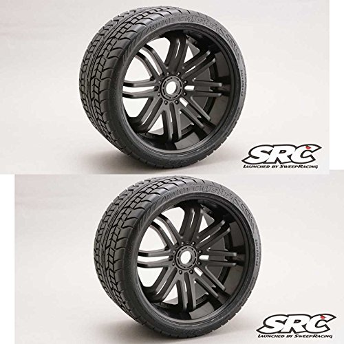 Sweep RC Monster Truck Road Crusher Belted Tire Pre-Glued on Black Wheel 2pc (17mm Monster Truck Wheels)