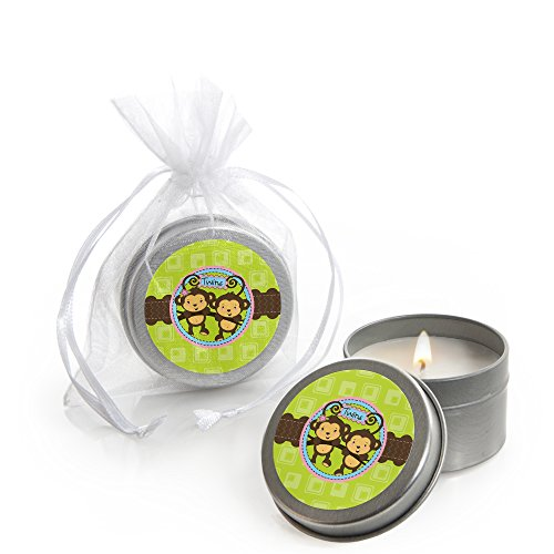 Big Dot of Happiness Twin Monkeys 1 Boy & 1 Girl - Candle Tin Baby Shower Favors - Set of 12 ()