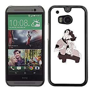 Shell-Star Arte & diseño plástico duro Fundas Cover Cubre Hard Case Cover para HTC One M8 ( Love Couple Kids Drawing Valentines )