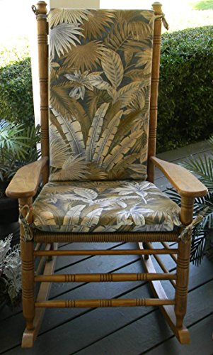 Indoor / Outdoor Tommy Bahama Platinum Ocean Blue & Tan Tropical Palm Leaf Floral Print Rocking Chair 2 Pc Foam Cushion Set ~ Fits Cracker Barrel Rocker (Blue Leaf Outdoor Furniture)