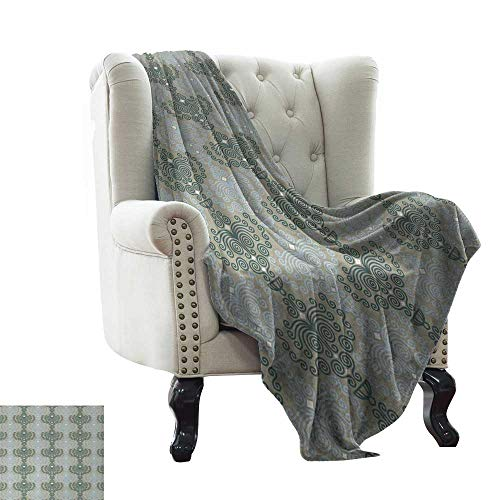 Abstract Damask Pearl - BelleAckerman Blanket Basket Floral,Abstract Art Damask Desgin Floral Ornament Background Wallpaper Pattern Print,Blue and Taupe Microfiber All Season Blanket for Bed or Couch Multicolor 70