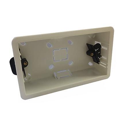DRYLINER BACK BOX 35MM PLASTERBOARD WALL SOCKET PLUG 2 GANG DOUBLE SOCKET