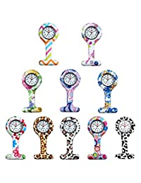 Lancardo High Quality Infection Control Hygienic Unisex Nurses Lapel Watch Silicone Designs in Many Colors (Pack of 10)