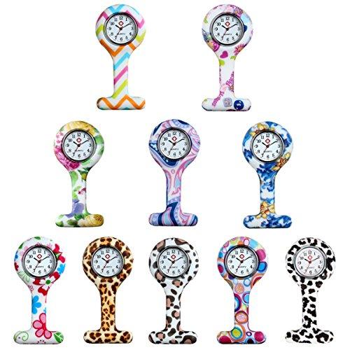Women's Nurses Watch 10Pcs Pin-on Brooch Infection Control Hygienic Unisex Nurses Lapel Watch Silicone Designs from Lancardo