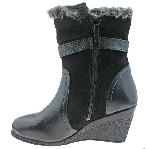 41 Side Zip Black Wedge Lotus Calf UK Boots Faux Ladies Length Fur 8 Leather EU Varda Y0xZq0g