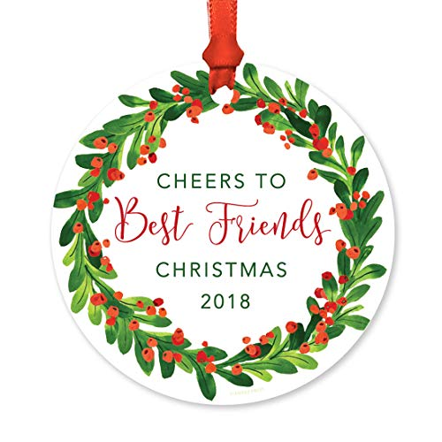 Andaz Press Family Round Metal Christmas Ornament, Cheers to Best Friends Christmas 2018, Red Green Holiday Wreath, 1-Pack, Includes Ribbon and Gift ()