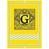 ''G '' Initial Monogram Personalized Letter G Blue Room Nursery Décor METAL Sign Yellow