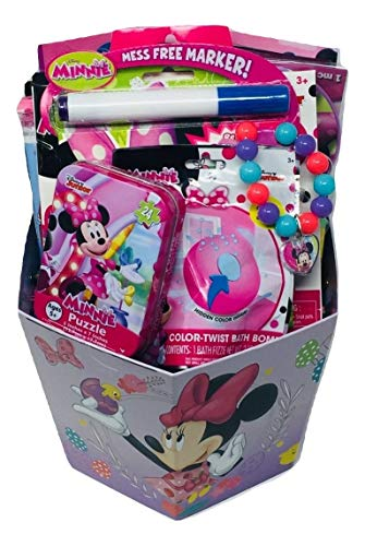 Minnie Themed Activity Gift Basket Bundle with Minnie Coloring Book, Minnie Puzzle, Minnie Reusable Sticker Kit, Minnie Bracelet, Minnie Paddle Ball & More