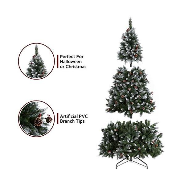 YOUKE Albero di Natale Artificiale di Pino Dolce Glassato Decorato con Pigne e Bacche Rosse,Facile da Installare, Materiale in PVC (1400Tips, 2.25M) 2 spesavip