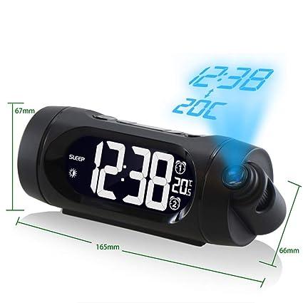 XIAOMEI Digital Despertador de la proyección Radio FM Luminoso Fecha Reloj de Doble repetición Termómetro Regulable
