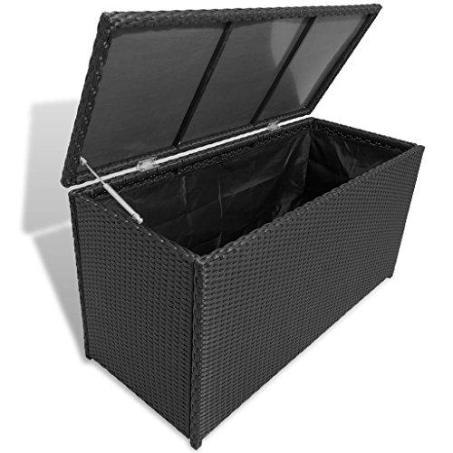 e Chest Poly Rattan Black Bench Cabinet Box Organizer ()
