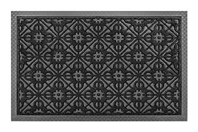 Front Door Mat Large Outdoor Indoor Entrance Doormat BY ABI Home - Charcoal Black Polypropylene Waterproof Low Profile Door mats Stylish Welcome Mats Garage Patio Snow Scraper Front Doormats Buy Now