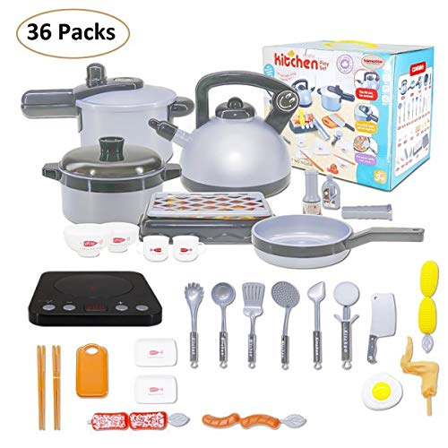 Vamotto 36 Pack Kids Kitchen Pretend Play Toys, Pretend Play Kitchen Cooking Set with Pots and Pans, Cookware Playset, Induction Cooker, Utensils Toys for Kids, Learning Gift for Toddlers, Girls, Boys
