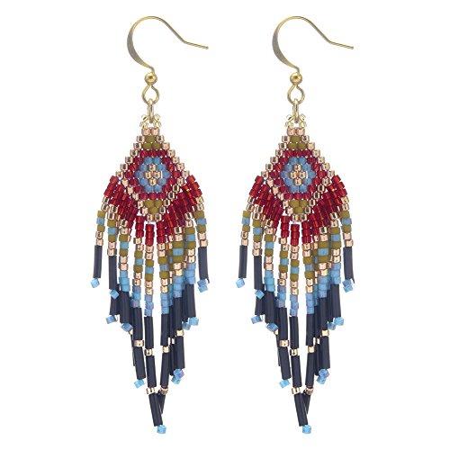 BeadChica Handmade Tribal Geometric Style Beaded Dangle Earring, Gift for Her, Beadwork Jewelry (Color 8)
