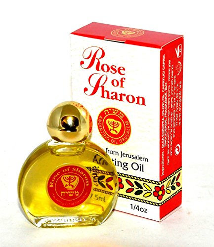 Rose of Sharon Jerusalem Anointing Oil 0.25 fl.oz. from the Land of the Bible by Bethlehem Gifts TM