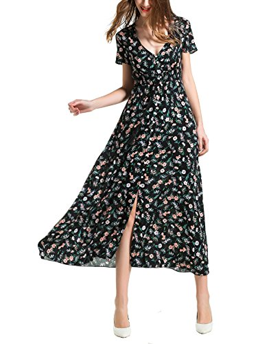 Angelady Bohemian Women Button Up Split Floral Print Short Sleeve Beach Maxi Dress - Front Long Dress