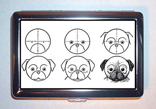 c1910 How to Draw Pug犬、子供のアート:ステンレススチールIDまたはCigarettesケース( Kingサイズまたは100 mm )   B00SZOX0VE