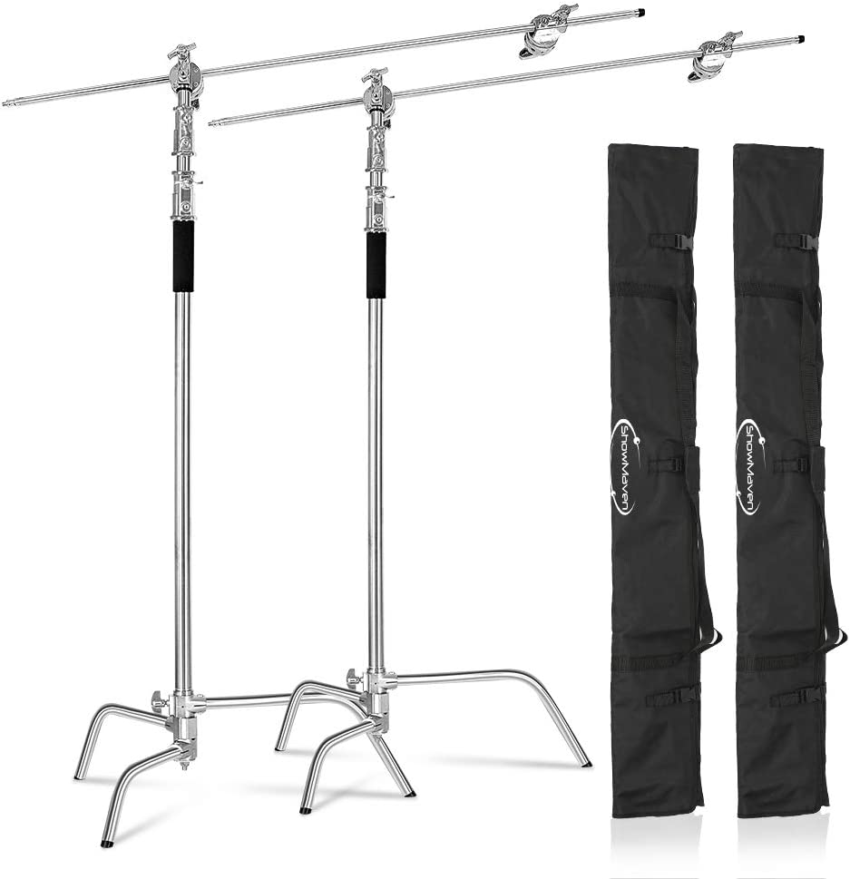 ShowMaven 2 Packs Heavy Duty C-Stand Light Stand with 4ft/120cm Holding Arm & Grip Heads & Carry Bag for Studio Video Reflector, Monolight and Other Photographic Equipment
