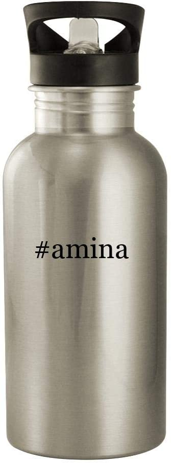 #Amina - 20Oz Hashtag Stainless Steel Water Bottle, Silver