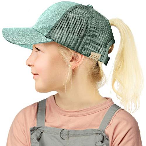 C.C Kids 2-7 Ponytail Messy Buns Ponycaps Baseball Visor Cap Hat Glitter Mint