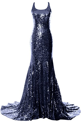 MACloth Women Mermaid Long Prom Dress Open Back Wedding Formal ...