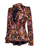 LookbookStore Women's Dashiki African Print Peplum Blazer Jacket Coat M(US 10-12)