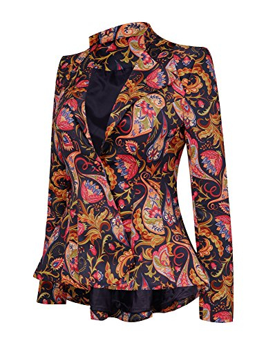 Print Blazer (LookbookStore Women's Dashiki African Print Peplum Blazer Jacket Coat XL(US 22-24))