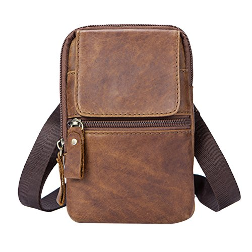 Shoulder Soft Lightweight Mens Mobile Zhhlinyuan Phone Zipper Bag Coffee Leather Cowhide Women Belt Adjustable First Small Crossbody Pouch suave IxgIwFt7