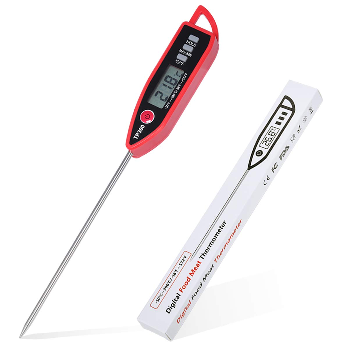 Cyxnslh Instant Read Meat Thermometer, Fast & Precise Digital Food Thermometer, Digital Thermometer for Kitchen, and Grill, Outdoor Cooking, Electronic Cooking Kitchen Thermometer with LCD Display