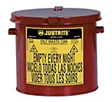 Justrite 09200 Galvanized Steel Counter Top Oily Waste Can, Red, w/hand-operated cover, FM & UL. 2 Gallon (8L) Size.