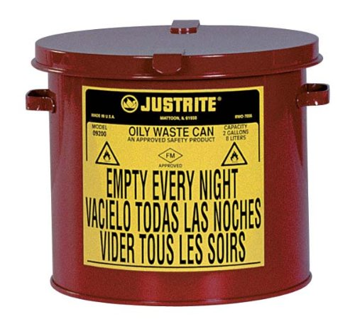 Justrite 09200 Galvanized Steel Counter Top Oily Waste Can, Red, w/Hand-Operated Cover, FM & UL. 2 Gallon (8L) ()