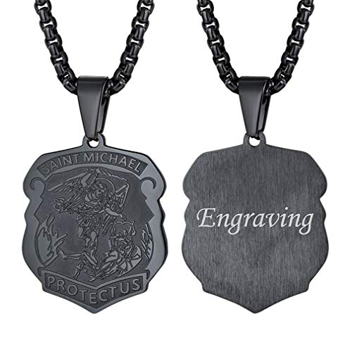 Michaels Jewelry Making (FaithHeart Custom Engraved Saint Michael Pendant Stainless Steel St. Michael The Archangel Necklace Jewelry)
