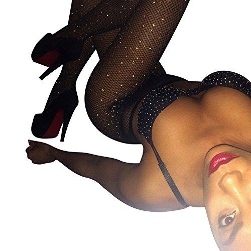 (Women's Hollow Out Sparkle Rhinestone Fishnet Pantyhose Elastic Tights Sexy High Waist Fishnet Diamond Body)