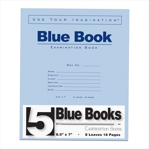 Roaring Spring ROA77532 Blue Exam Books, Wide Ruled, 8.5'' x 7'', 8 Sheets/16 Pages, 5 Per Pack, 120 Packs Per Carton