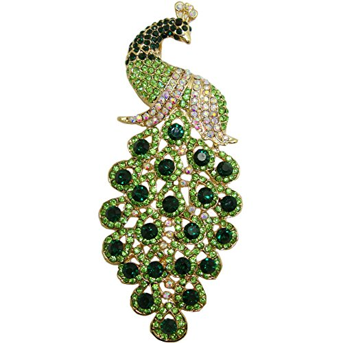 TTjewelry Vintage Peacock Bird Rhinestone Crystal Brooch Pin Art-deco Style Bird Pendant (Grass-green) ()
