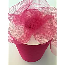 Tulle Fabric Spool/Roll 6 inch x 100 yards (300 feet), 34 Colors Available, On Sale Now! (fuchsia)