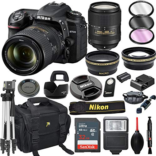 Nikon D7500 DSLR Camera with 18-300mm VR Lens + 32GB Card, Tripod, Flash, and More (20pc Bundle)