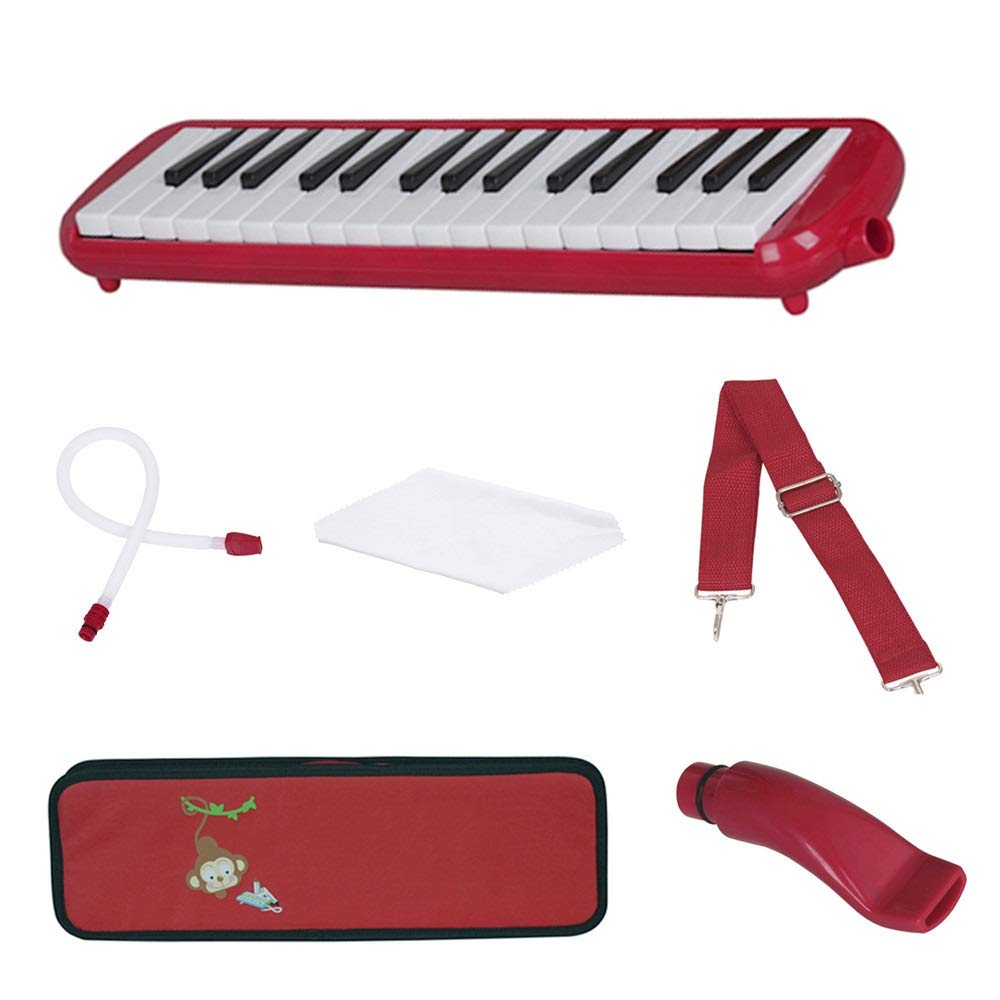 Melodica Musical Instrument Cartoon Kids Piano Keyboard Style Melodica Durable ABS 32 Keys With Portable Carrying Case Kids Musical Instrument Gift Toys For Music Lovers Beginners 2 Mouthpieces Tube S