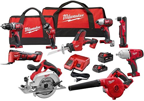 Milwaukee 2695-29CX Power Tool Combo Kit M18 18-V Cordless Drilling Driving Cutting Grinding(9-Tool)