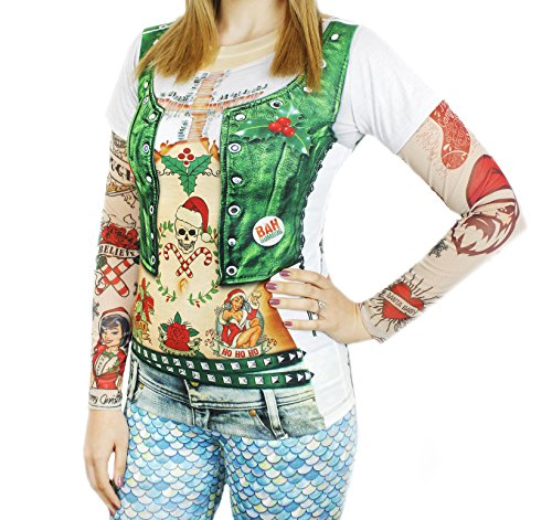 Faux Real Women's Xmas Vest with Tattoos Printed T-Shirt, Adult Size Large