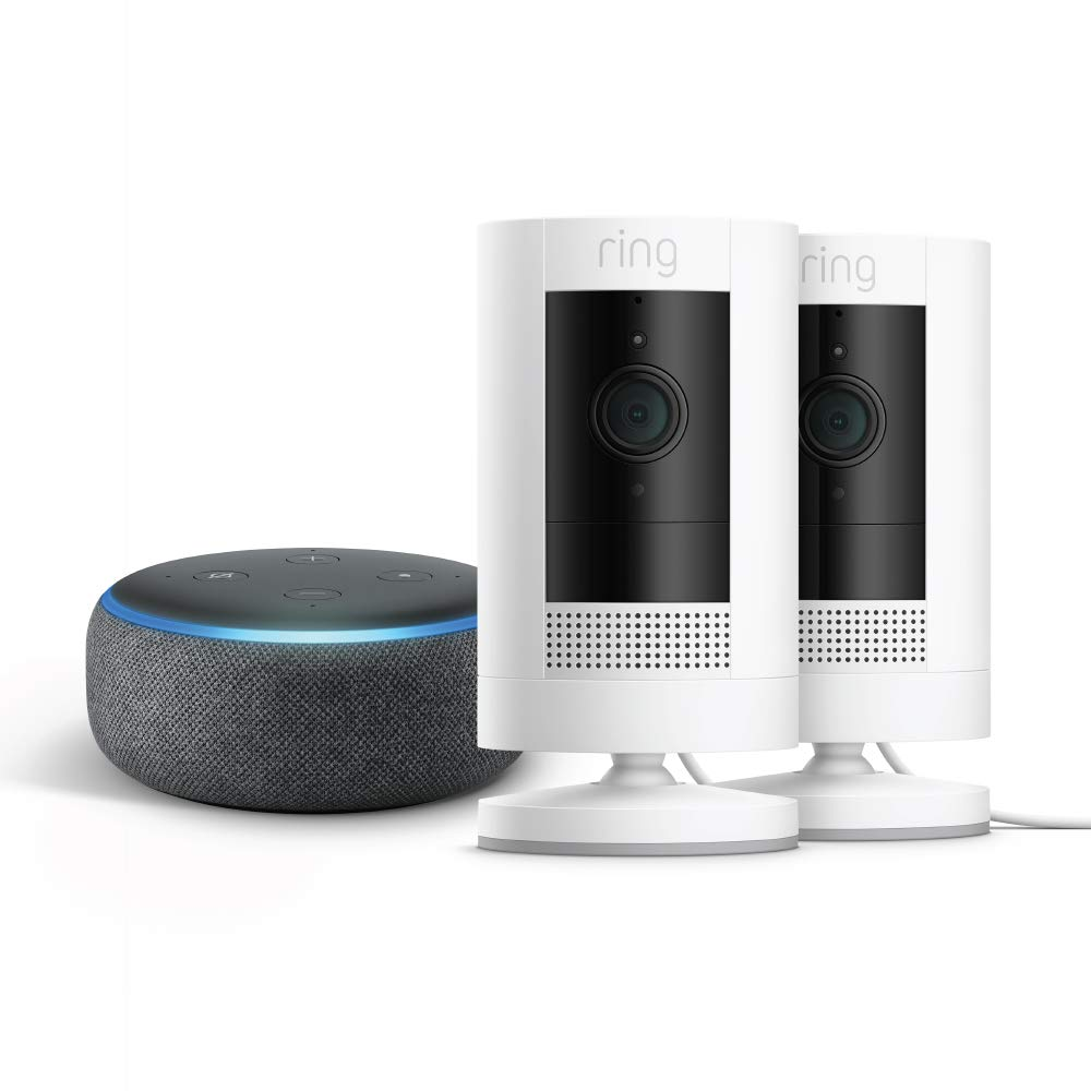 All-new Ring Stick Up Cam Plug-In 2-Pack with Echo Dot (Charcoal)