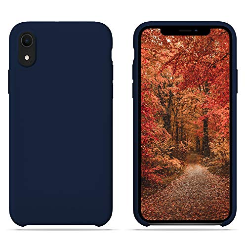 HONUA iPhone XR Case [BacktoBasics] Liquid Silicone Case Inner Silky Soft-Touch Microfiber Cloth Lining Gel Rubber Case for Apple iPhone XR 6.1 inch (2018) (Midnight Blue)