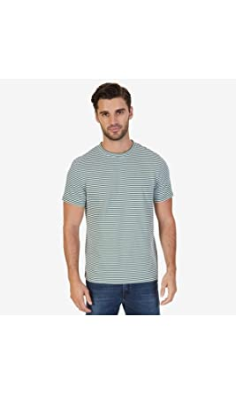 410000116c Nautica Men's Short Sleeve Slim Fit Striped Crew Neck T-Shirt, Pine Forest X