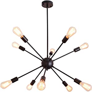 PUMING 10 Lights Sputnik Chandelier Black Industrial Ceiling Light Flush Mount Modern Mid-Century Pendant Light Fixture Hanging Lamp for Hallway Living Room Bedroom Kitchen Island Office Lighting