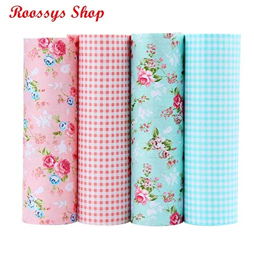 (Patchwork Cotton Fabric Fat Quarters for Sewing Fat Quarters Bundles Fat Quarters Fabric Bundles Fat Quarters Tilda Cloth Quilting Patchwork Fabrics for Sewing Doll Cloth 4pcs/Lots 40x50CM)