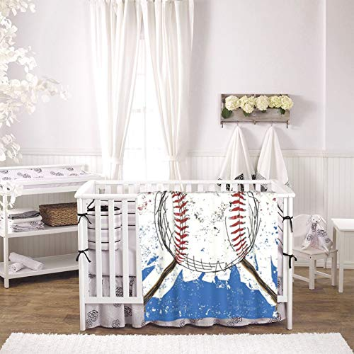Red White and Blue Baseball Bats Lover Sport Fleece Baby Blanket Plush Fuzzy Receiving Blankets Warm Cozy for Toddler Infant Newborn Boys and Girls 30x40 Inches