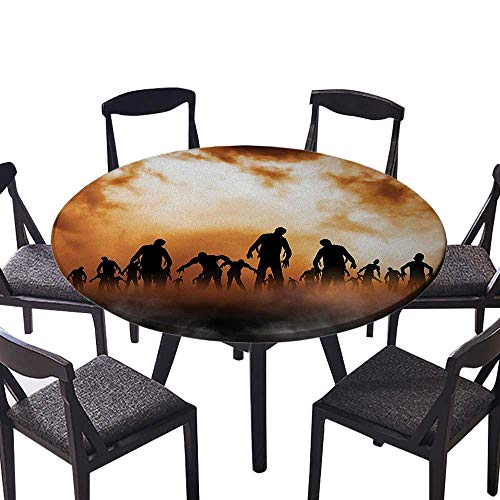 Youdeem-tablecloth Circular Table Cover Zombies Dead Men Body Walking in The Doom Mist at Dark Night for Wedding Banquet 67