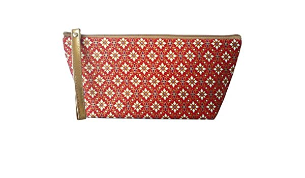 Neceser de algodón con Thai tipo patrón; Rojo/Blanco; 24 x 11 cm ...